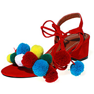 Women's Shoes Fleece Chunky Heel Pom-pom / Gladiator Sandals Party & Evening / Dress / Casual Black / Blue / Pink / Red