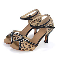 Chaussures de danse(Noir Rose) -Personnalisables-Talon Bobine-Satin Flocage-Salsa
