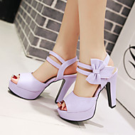 Women's Spring Summer Fall Leatherette Outdoor Dress Casual Chunky Heel Bowknot Black Pink Purple Beige
