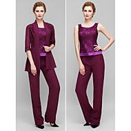 Lanting Sheath/Column Mother of the Bride Dress - Grape Ankle-length Half Sleeve Chiffon / Lace
