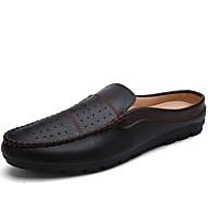 Men's Spring / Summer / Fall / Winter Comfort Leather Casual Flat Heel Slip-on Black / Blue / White / Burgundy