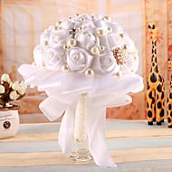 """פרחי חתונה עגול ורדים זרים סאטן 7.09""""(לערך.18ס""""מ)"""