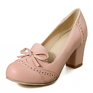 Women's Shoes Leatherette Chunky Heel Heels Heels Wedding / Office & Career / Party & Evening Blue / Pink / Beige