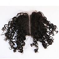 Curly Human Hair Closure Medium Brown gram Cap Size