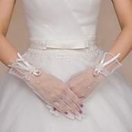 Até o Pulso Com Dedos Luva Tule Luvas de Noiva Luvas de Festa Miçangas Floral Laço