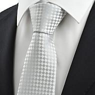 Gravata(Branco / Prateado,Poliéster)Poás