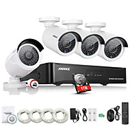 Annke® New 4CH CCTV NVR System POE NVR 1080P Video Ourput 1080p Weatherproof CCTV IP Camera Security System with 1TB