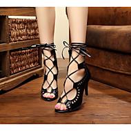 Customizable Women's Dance Shoes Latin / Salsa / Samba Leatherette Stiletto Heel Black