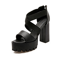 Women's Shoes Leatherette Chunky Heel Heels Sandals Wedding / Party & Evening / Dress / Casual Black / Red