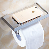 Bathroom Wall Mounted Soild Brass Chrome Finish Toilet Paper Holder Mobile Phone Holder Tissue Box Shelf