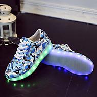 לבנים / לבנות-נעלי ספורט-דמוי עור-מעוגל-כחול / ורוד / אפור / כחול ים-שטח / קז'ואל-עקב שטוח