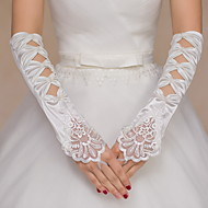 Elbow Length Fingerless Glove Satin Lace Bridal Gloves Party/ Evening Gloves Beading Embroidery Bow