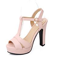 Women's Shoe Chunky Heel Peep Toe / Platform / T-Strap Sandals Wedding / Party & Evening Beige/Green/Pink