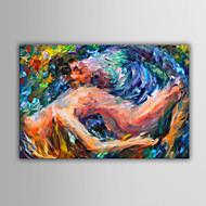 Handgeschilderde Mensen / Fantasie / Abstracte landschappenModern / Europese Stijl Eén paneel Canvas Hang-geschilderd olieverfschilderij
