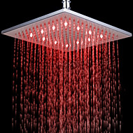 Monochrome LED Shower Nozzle Top Spray Shower Nozzle (Red)(10 Inch)