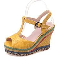Zapatos de mujer-Tacón Cuña-Cuñas / Punta Abierta-Sandalias-Vestido / Casual / Fiesta y Noche-Materiales Personalizados / Semicuero-Negro