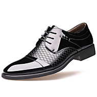 Men's Spring / Summer Pointed Toe Leather Wedding / Office & Career / Casual / Party & Evening Sparkling Glitter / Lace-up Black / Brown