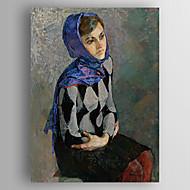 gerilmiş olan yağlı boya izlenim kişilere bir kadın giyen scart el boyalı tuval çerçeveli