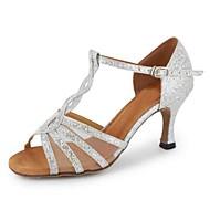 Obyčejné-Dámské-Taneční boty-Latina-Koženka-Na zakázku-Černá Stříbrná Zlatá