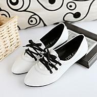 נעלי נשים-אוקספורד-עור פטנט-נוחות / רצועת קרסול-שחור / ורוד / לבן-קז'ואל-עקב נמוך