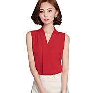 Damen Bluse - Gerüscht Polyester / Andere Ärmellos V-Ausschnitt