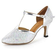 Customizable Women's Dance Shoes Leatherette Leatherette Modern Heels Customized Heel Practice Silver
