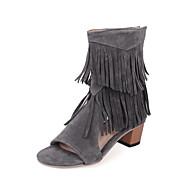 Women's Shoes Chunky Heel Open Toe Sandals Dress Black / Brown / Red / Gray