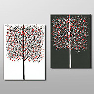 Hand Painted Oil Painting Leaves Colorful Rich Tree Abstract 2 Piece/set wall art with Stretched Frame