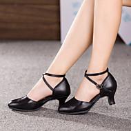 Chaussures de danse(Noir / Rouge / Argent) -Non Personnalisables-Talon Cubain-Cuir-Ventre / Latine / Baskets de Danse / Moderne / Salsa /