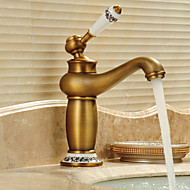Traditional Centerset Waterfall with  Ceramic Valve Single Handle One Hole for  Antique Brass , Bathroom Sink Faucet