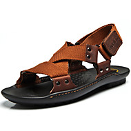 Men's Sandals Spring Summer Fall Comfort Canvas Nappa Leather Outdoor Office & Career Casual Split Joint Black Brown Upstream shoes