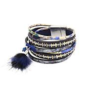 Dames Wikkelarmbanden Lederen armbanden Luxe Sieraden Leder Strass imitatie Diamond Legering Blauw Sieraden VoorBruiloft Feest Dagelijks