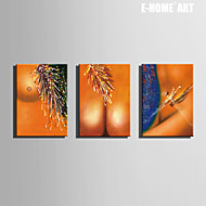 E-HOME® Stretched Canvas Art Abstract Art Woman Decoration Painting  Set of 3