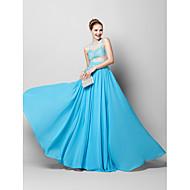 Tube/kolonne Besmykket - Formell Aften Dress - Blå Gulvlang Chiffon / Tyll