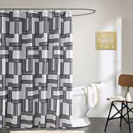 מודרני מקלחת וילון 71x72inch שחור פס פשוט, 71x79inch