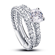 Luxurious Wedding Accessories Ring Bridal Sets 925 Sterling Silver White Cubic Zirconia Rings For Women