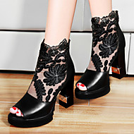 Women's Shoes Leather Chunky Heel Heels Sandals Wedding / Party & Evening / Dress Black / White