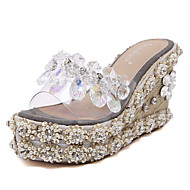 Women's Shoes Silicone Wedge Heel  Open Toe Sandals Dress Gray