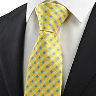 New Yellow Blue Cross Checked Pattern Men's Tie Necktie Wedding Party Gift KT0038