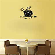 Creative 3D Mug Pointer Clock Ultra-quiet Acrylic Wall Clock Bedroom Living Room