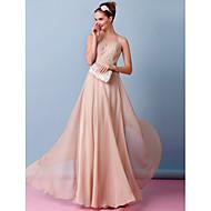 gaine lanting / robe de mariage colonne - champagne plancher-longueur mousseline bateau