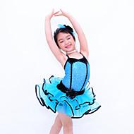 Kids' Dancewear Dresses Children's Performance Polyester / Organza / Lycra Crystals/Rhinestones / Tiers Sleeveless Natural