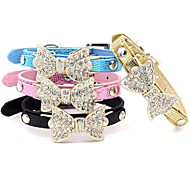 Cat / Dog Collar Adjustable/Retractable / Rhinestone Bowknot Black / Blue / Pink / Gold PU Leather
