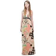 여성의 심플 루즈핏 드레스 프린트 맥시 딥 V 폴리에스테르