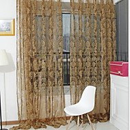 W100cm*L200cm,One Panel Rod pocket Country Living Room Polyester Sheer Curtains Shades