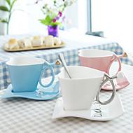coração e disco criativas 180ml canecas da Copa do presente da caneca de café xícara de leite copo de Valentim com 1pc de base
