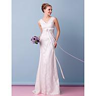lanting novia trompeta / sirena de boda del vestido de barrido / tren de encaje con cuello en V cepillo
