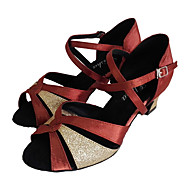 Latin Customizable Women's Sandals Thick Heel Satin with Sparkling Glitter Dance Shoes