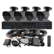 YanSe® 4CH 960H 1000TVL CCTV DVR Kit IR Camera Color Waterproof Security Cameras System 3.6mm S6624CF04