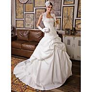 Lanting Ball Gown Petite / Plus Sizes Wedding Dress - Ivory Chapel Train Strapless Lace / Satin